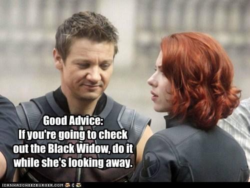 avengers Black Widow hawkeye Jeremy renner leering scarlett johansson - 6338572288
