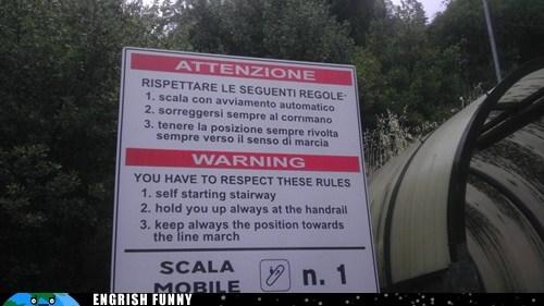 attenzione escalator italian Italy rules stairway warning warning sign - 6339481088