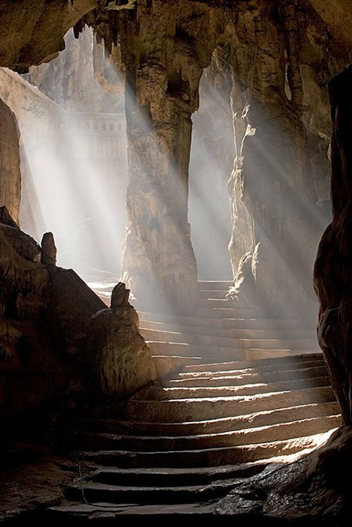 cave rocks stairs temple thailand - 6340196096