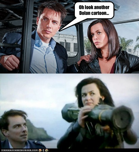 dolan Gwen Cooper pls cartoons anger eve myles john barrowman rocket launcher Captain Jack Harkness Torchwood bazooka - 6340318208