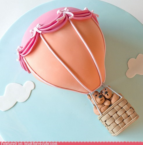 bears,cake,epicute,fondant,Hot Air Balloon
