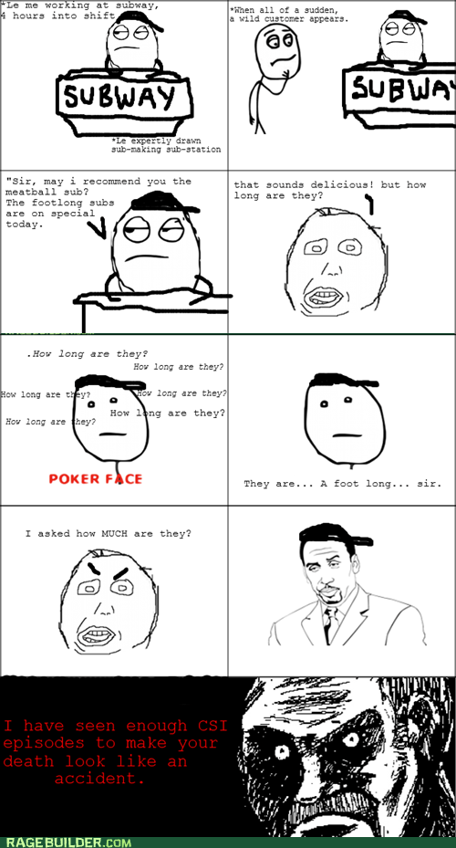 all that racket customers poker face Rage Comics sandwich - 6340638976