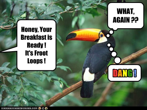 Honey, Your Breakfast is Ready ! It's Froot Loops ! WHAT, AGAIN ?? D ! A N G