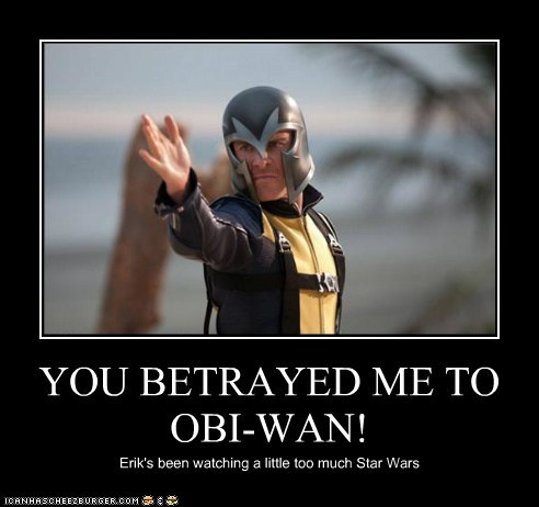 YOU BETRAYED ME TO OBI-WAN! Erik's been watching a little too much Star Wars