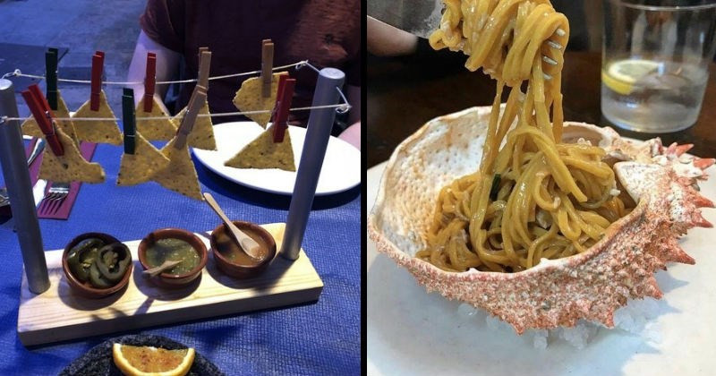 restaurants trying to be original by serving food in weird ways