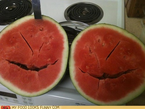 evil face plotting sliced watermelon - 6341626112