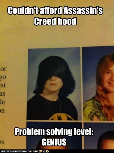 assassins creed,emo hair,emolulz,genius,yearbook