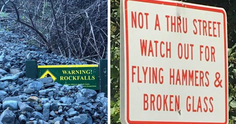 rocks scary signs hazard dangerous funny signs animals - 6342405