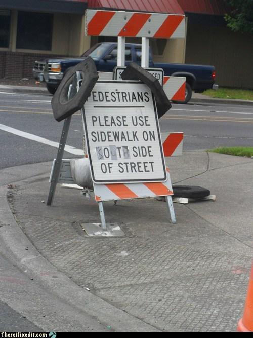 east north pedestrians sidewalk south street sign west - 6342420736