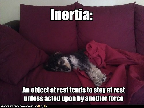 Inertia: An object at rest tends to stay at rest unless acted upon by another force