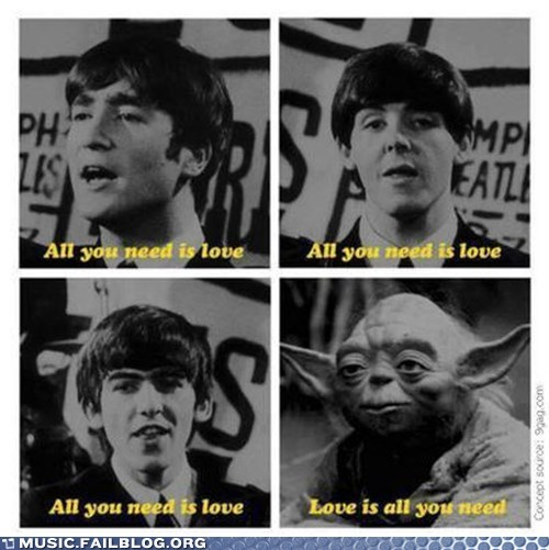 All you need is love,beatles,star wars,the Beatles,yoda