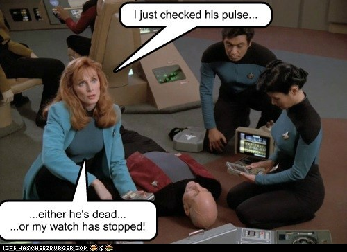 Captain Picard dead doctor beverly crusher gates mcfadden patrick stewart pulse Star Trek watch stopped