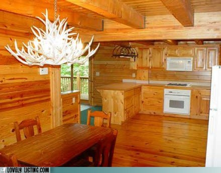 antlers chandelier kitchen wood