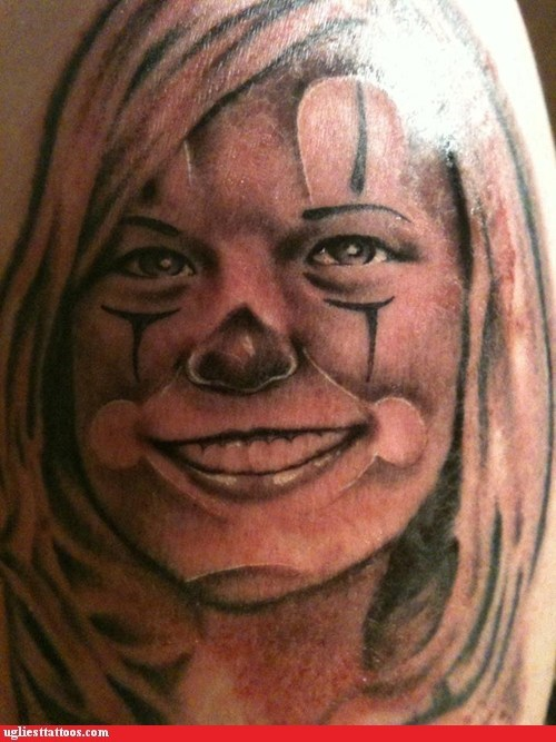 clown portrait tattoo wife