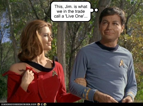 DeForest Kelley,jim,live one,McCoy,redshirt,smirk,Star Trek