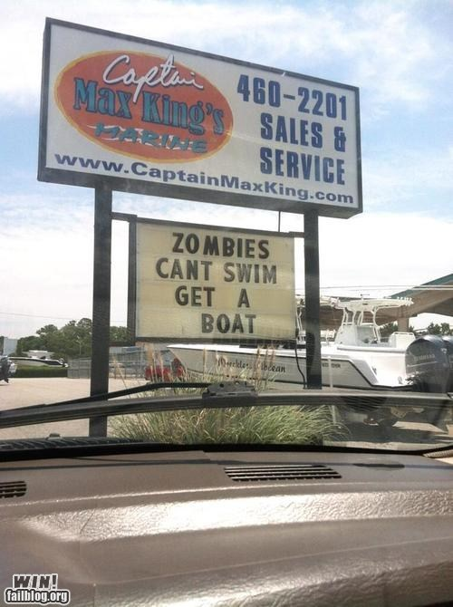 advertisement,boat,classic,sign,swimming,zombie
