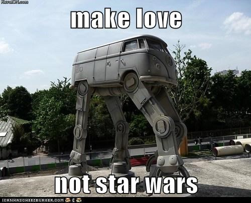 at at hippies make love not war star wars van vw bus - 6344093696