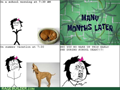 pets,Rage Comics,summer,truancy story,Y U NO
