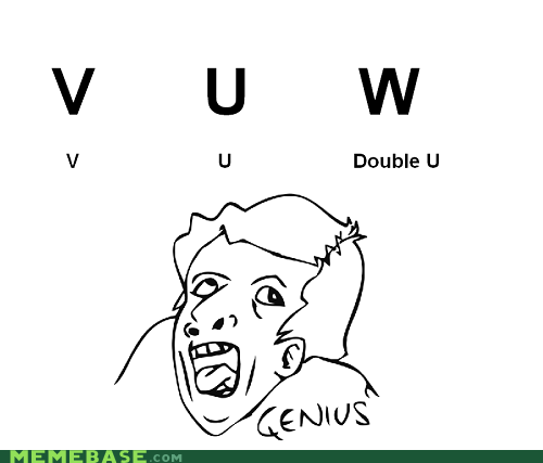 alphabet doubleyou english genius Memes u v