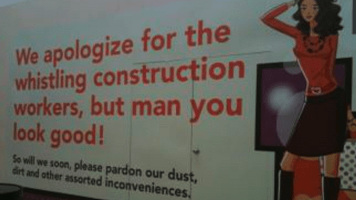 apology,construction workers,sign