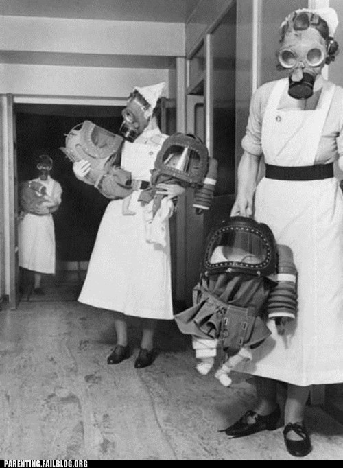 gas masks maternity ward nurses