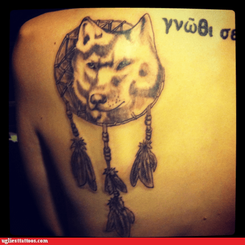 back tattoos,dogs,dream catcher