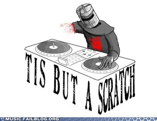 dj monty python pun scratch the black knight