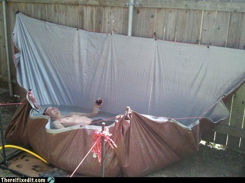 hot tub,tarp,tarp tub