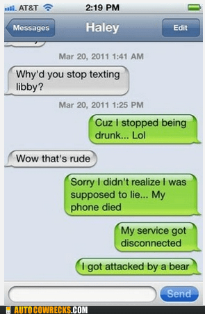 attacked by a bear excuses libby stopped texting - 6344950784