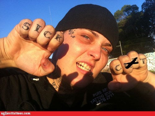 face tattoos,knuckle tattoos,vulgarity