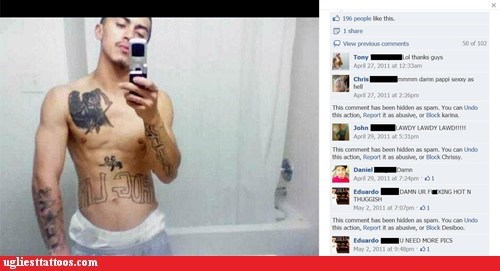 chest tattoos,facebook,self shot,thug life