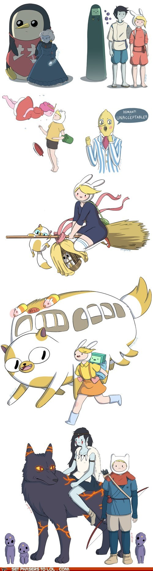 adventure time crossover Fan Art Hayao Miyazaki howls-moving-castle kikis-delivery-service mashup my neighbor totoro spirited away studio ghibli - 6345237504