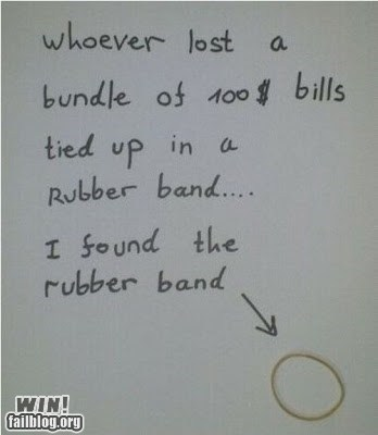 cash,lost and found,money,rubber band