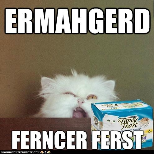 best of the week,cat food,derp,Ermahgerd,fancy feast,food,Memes,omg