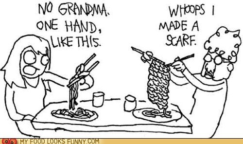 chopsticks comic grandma knitting scarf
