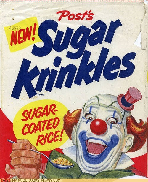cereal,clown,rice,scary,sugar krinkles