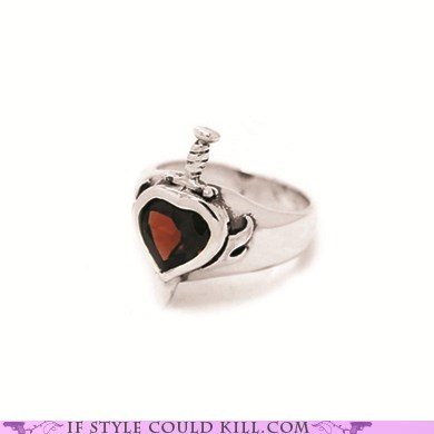 cool accessories daggers hearts ring of the day rings - 6345467904