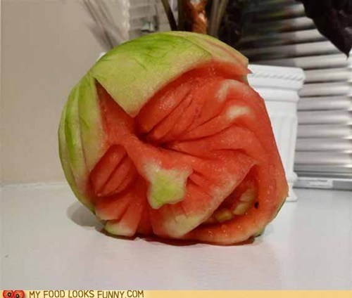 carved drunk face head sleepy watermelon - 6345505792