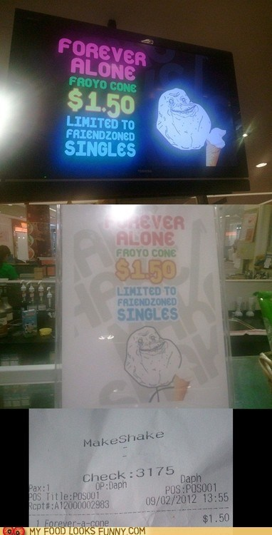forever alone FroYo frozen yogurt meme - 6345513472