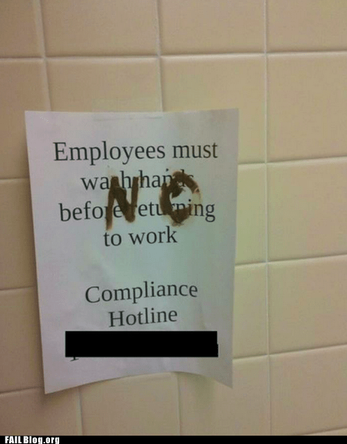 employees must wash hands,poop,public restroom