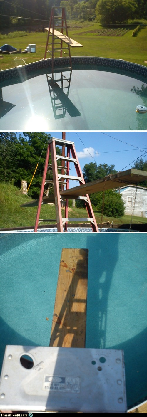 dive diving diving board ladder swimming pool