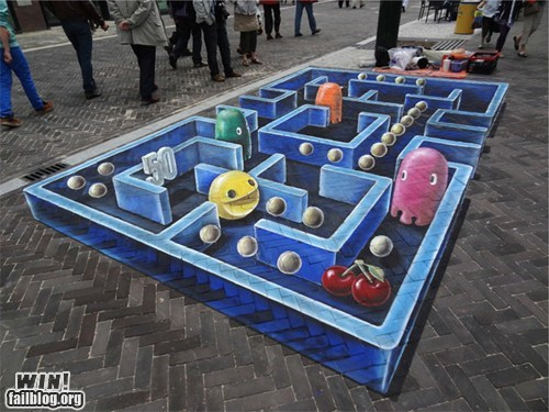 chalk art,illusion,nerdgasm,pac man,perspective