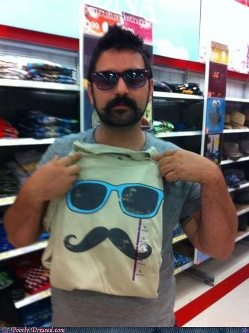 ironic mustache shirt sunglasses - 6346285056