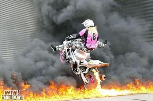 BAMF fire merica motorcycle wheelie