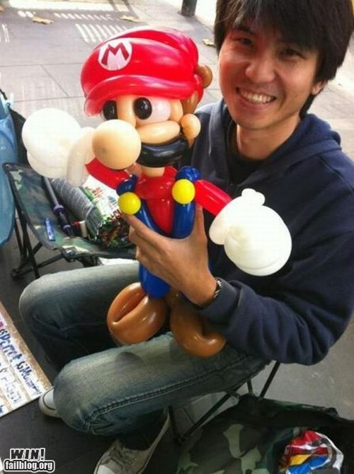 balloon,balloon animals,mario,nerdgasm,nintendo,Super Mario bros