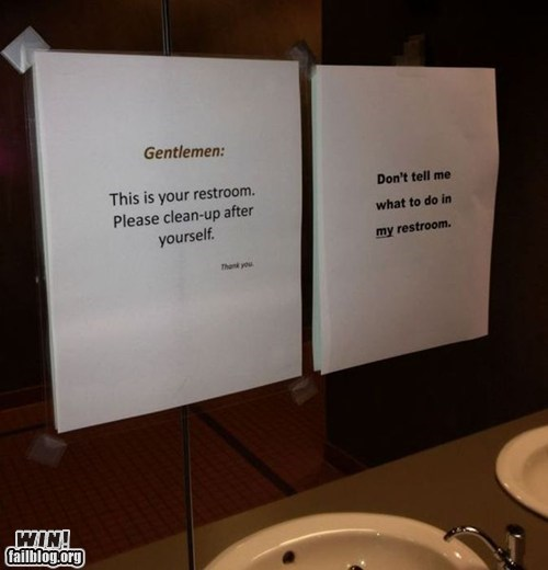 bathroom gross mirror note sign warning - 6346369024
