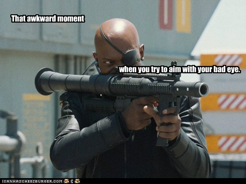 aiming avengers Awkward Moment bad eye eyepatch Nick Fury rocket launcher Samuel L Jackson try - 6346690048