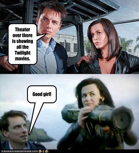 bazooka,Captain Jack Harkness,destroy,eve myles,good girl,Gwen Cooper,john barrowman,theater,Torchwood,twilight marathon