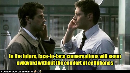 Awkward castiel cell phones conversations dean winchester face to face future jensen ackles misha collins talking - 6346995712