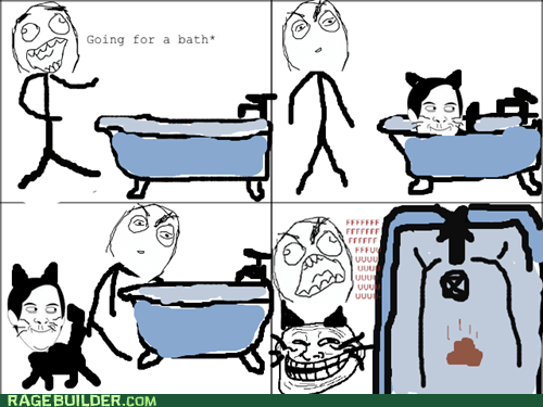 bath,cat,fu guy,pooptimes,Rage Comics